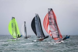 British I14s sailing in the Prince of Wales Cup in preparation for the world championship. Photo: VRSport.tv