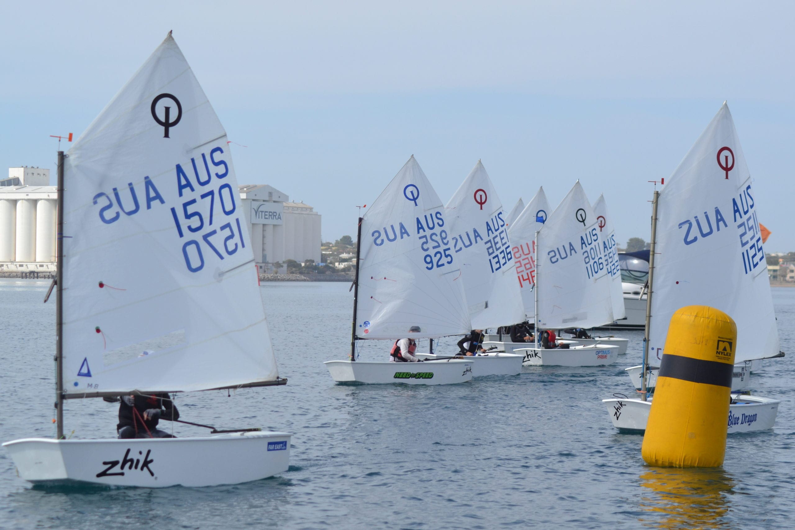 The optimist fleet off the start line at last year's Youth Tri Series event in Port Lincoln.