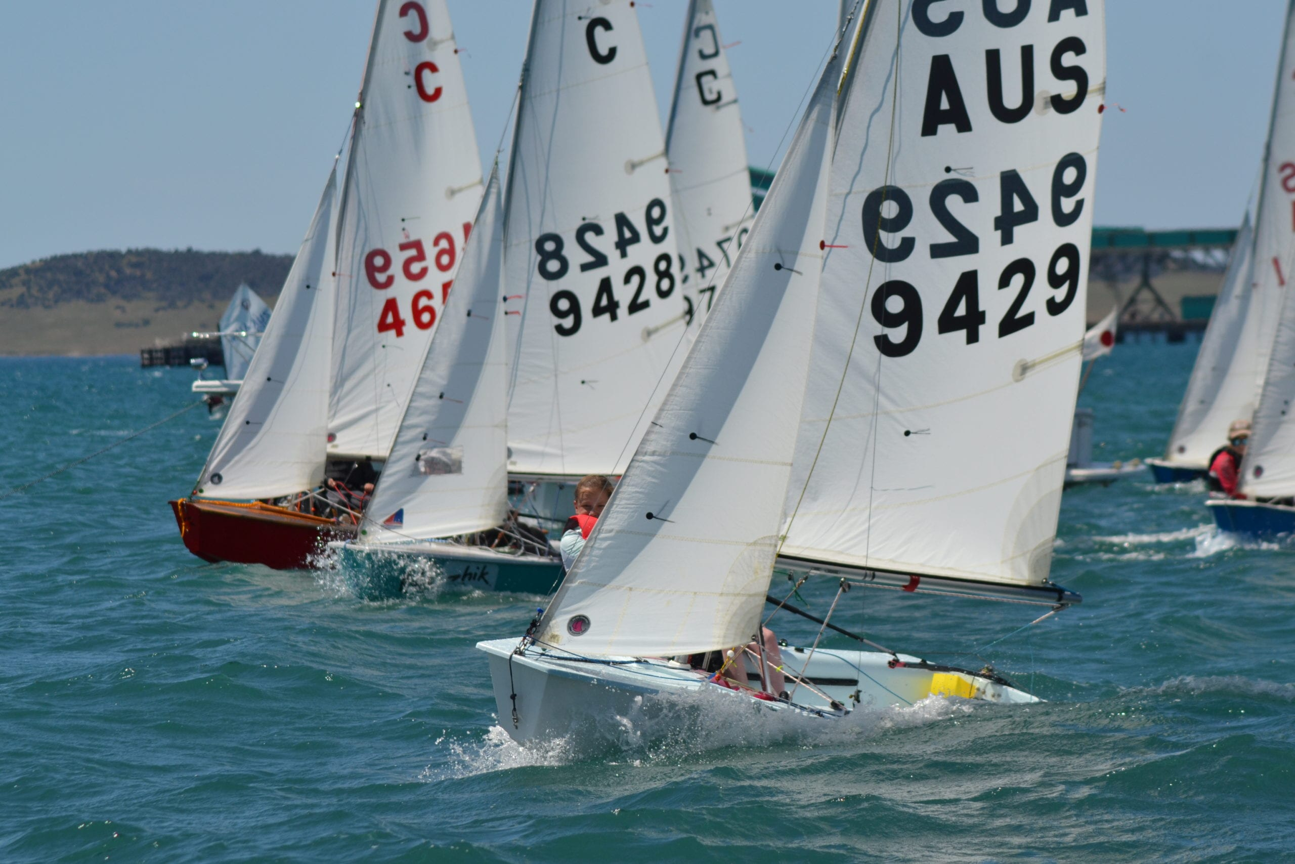 The international cadet fleet off the line of last year's Tri Series event.