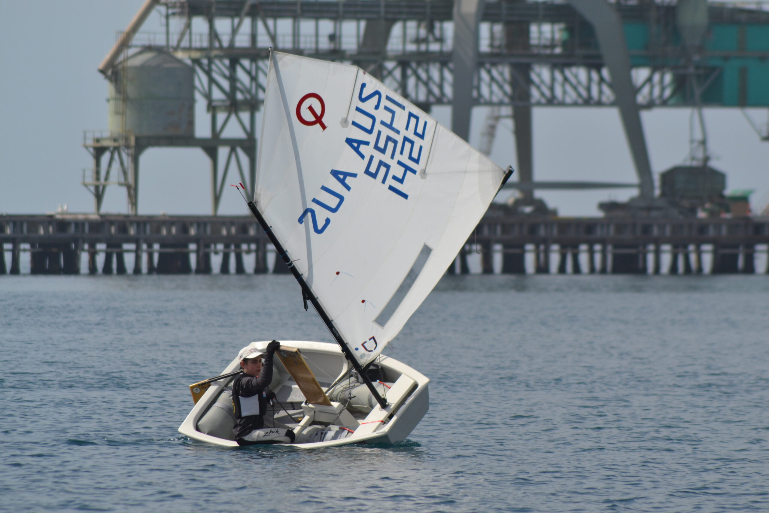 Ben Hinks (ASC) sailing in Port Lincoln at last year's Tri Series event.