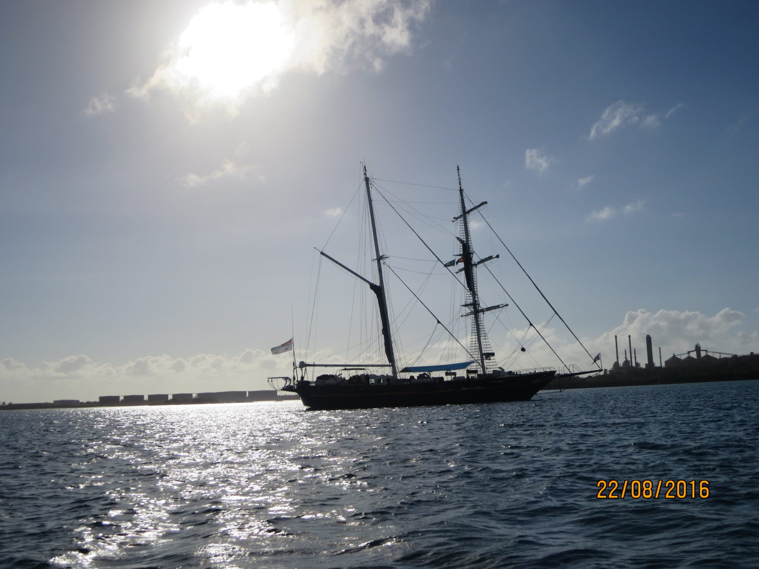 The young endeavour has two masts and is a lot bigger than an international cadet.