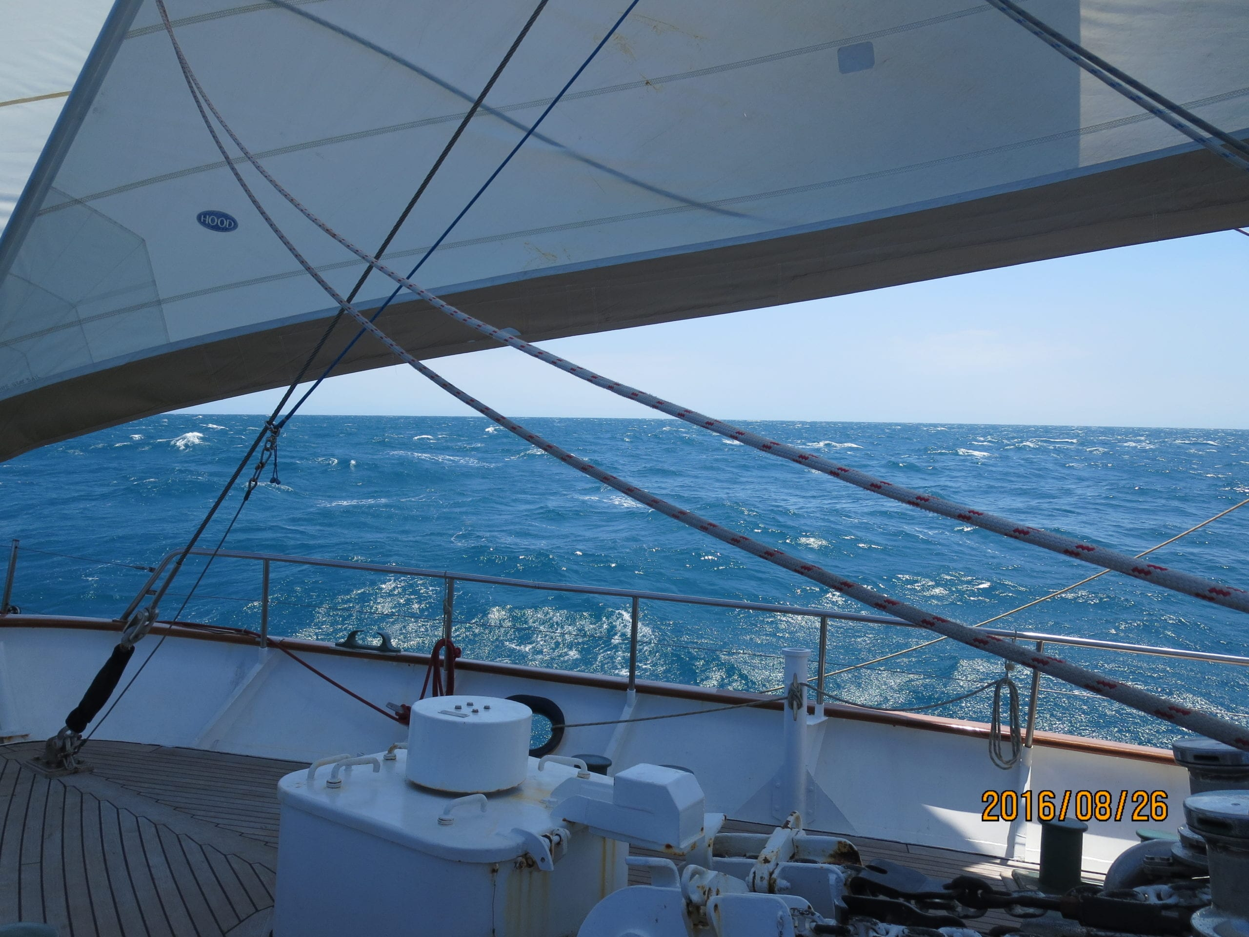 During the 11-day voyage, Issy got the opportunity to climb the mast and also helm the boat.