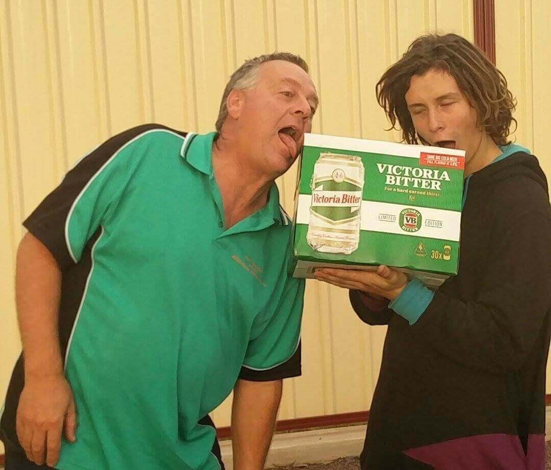 The team stopped in Cowell on the east coast of Eyre Peninsula for a carton of their favourite beer, Victoria Bitter.