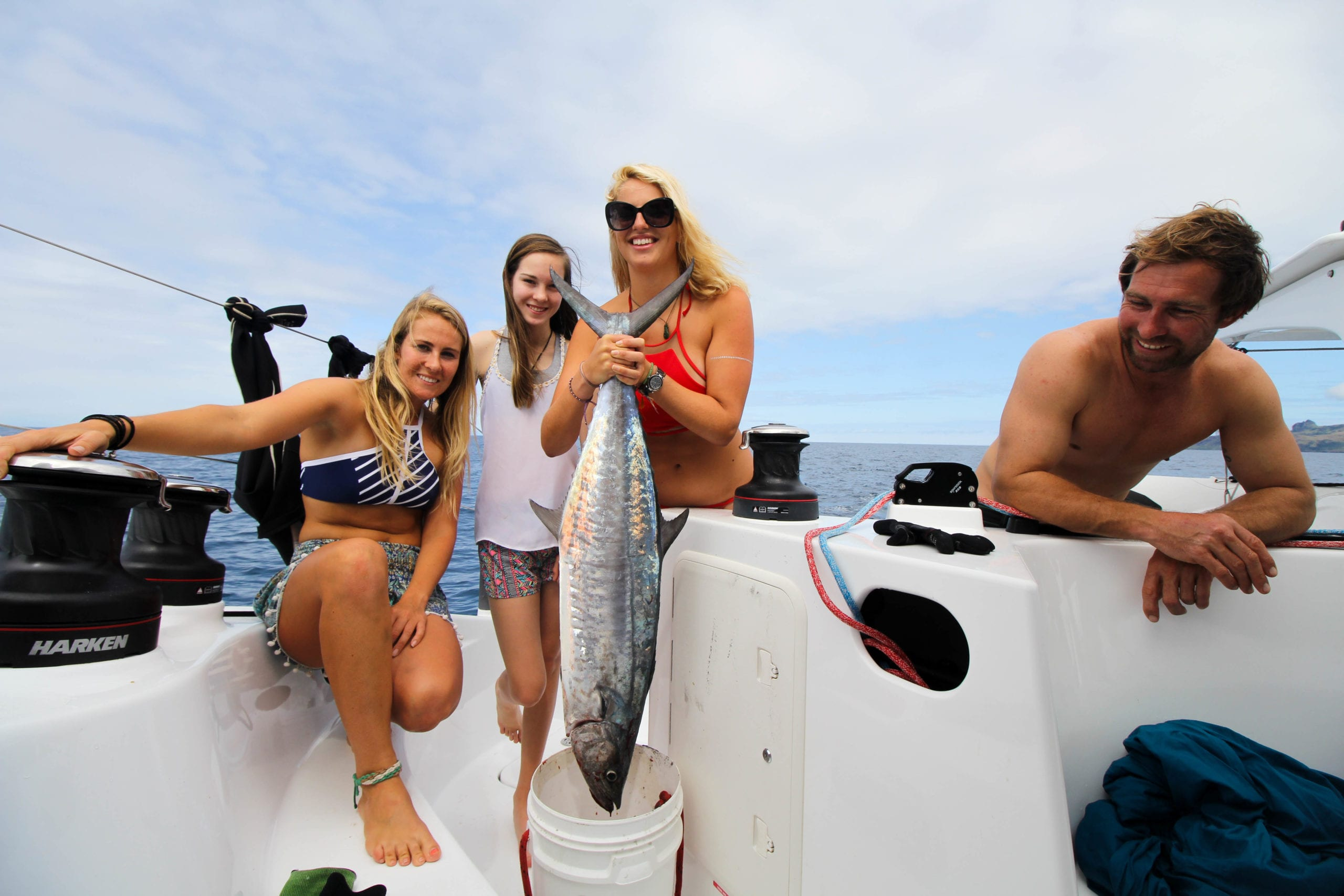 Liss, Lara (Liss' family), Holly and Kaidan (Liss' family) with the catch of the day.