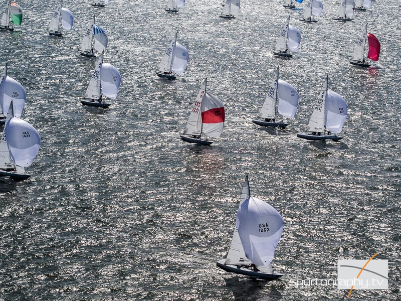 Sparkling conditions on Day Three of the 2016 Etchells World Championship. Photo: Sportography.tv