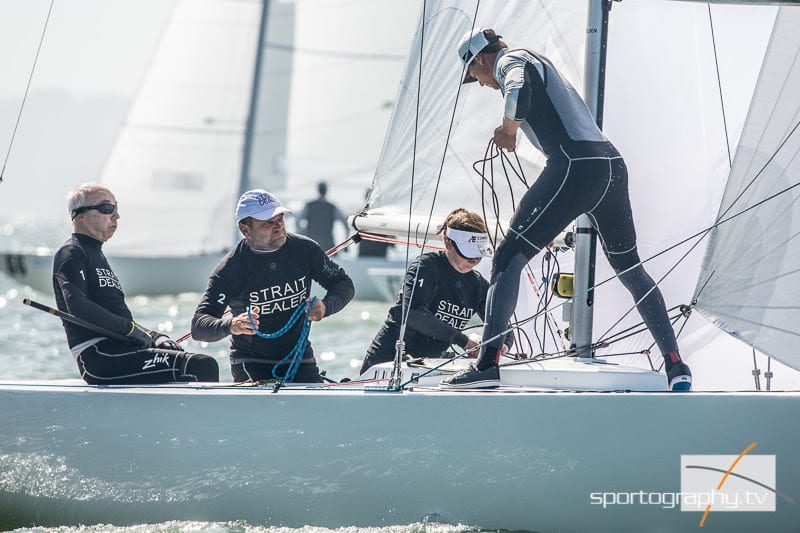 Cowes Etchells Fleet Captain and Regatta Director, David Franks, had a stellar day on the water. Photo: Sportography.tv