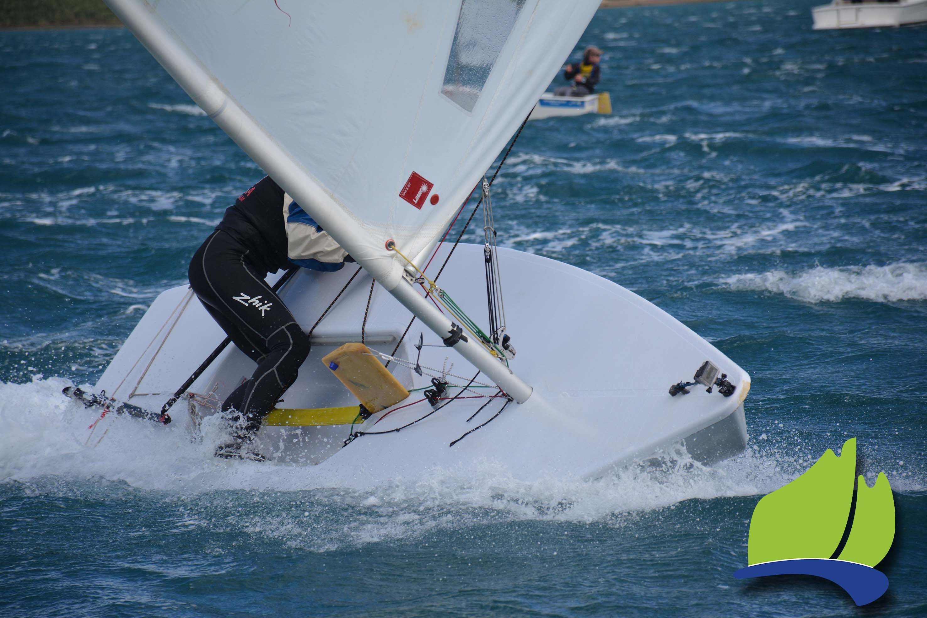 Things got hectic for laser sailor Sarah Dredge as the breeze picked up on the Sunday.