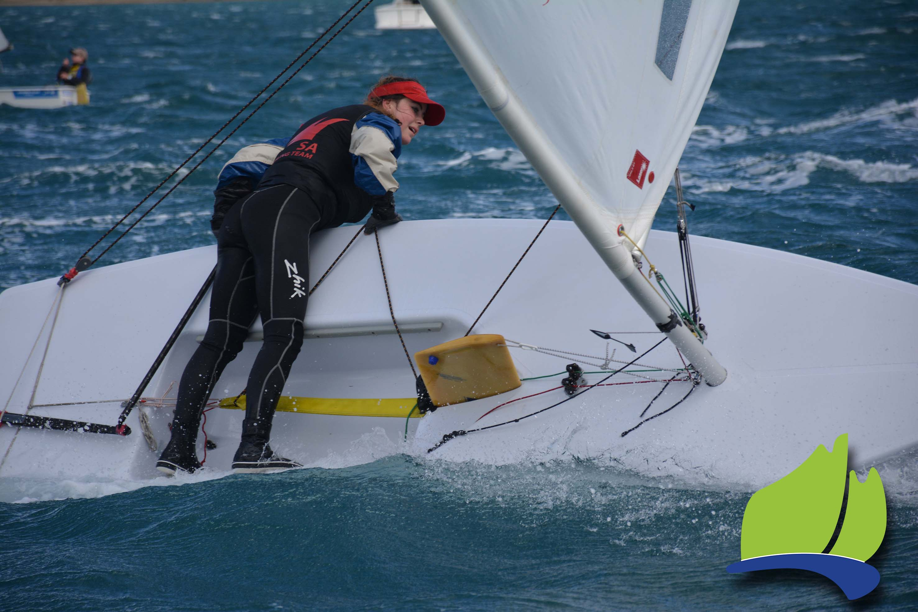 Laser 4.7 sailor Sarah Dredge had a bit on during a gybe at the Port Lincoln Tri Series event.