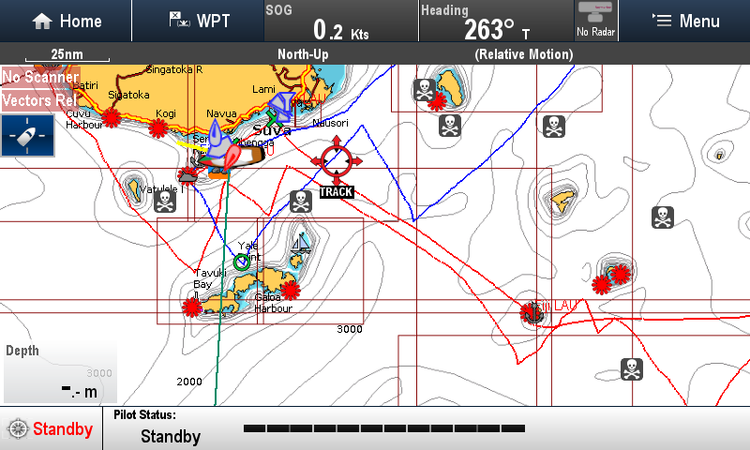 The Blue track above is in light air with full Mainsail and Genoa flat seas and great conditions.  Wind speeds 8-12 knots.  The Red track is 2 or 3 Reefs in the Mainsail and the Staysail out most of the time.  15-25 TWS.  Tacking angles end up about the same no matter what sail configuration.