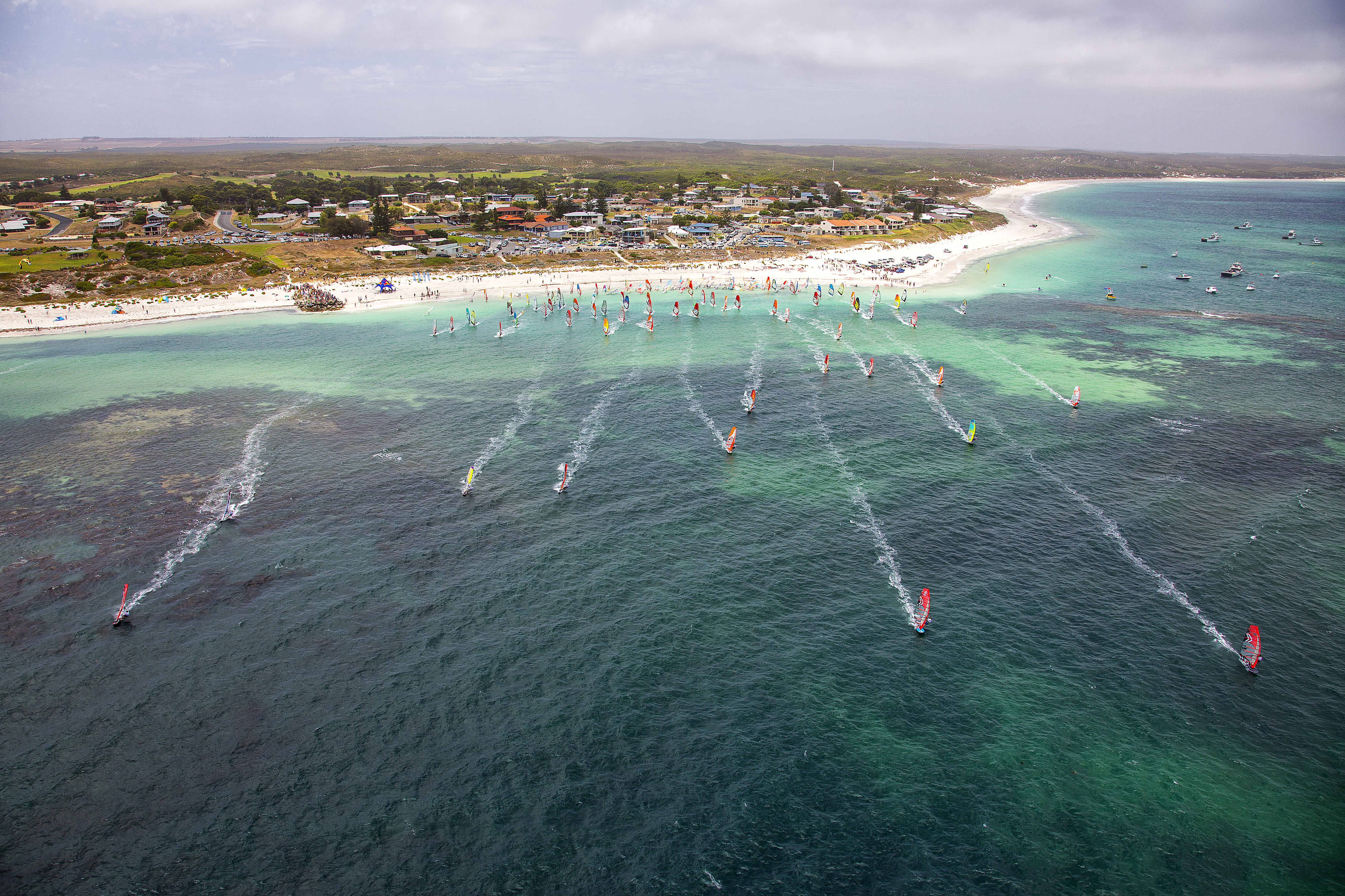 The start of the 2016 Lancelin Ocean Classic, a 25-kilometre marathon for kitesurfers and windsurfers. Photo: John Carter
