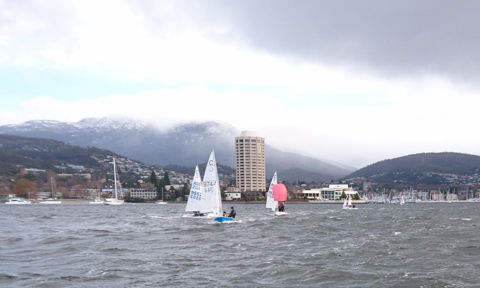 The team warming up on the Derwent River, Hobart, earlier this year.