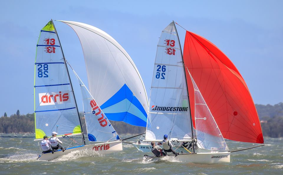 13ft Skiff Nationals | Skiff kids turning it on at Lake Illawarra
