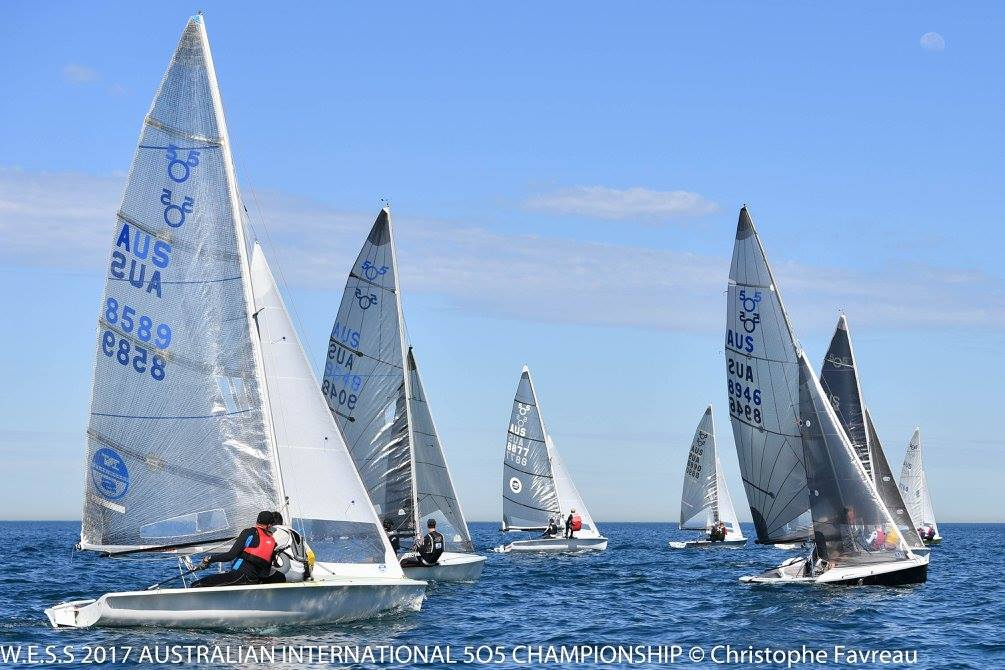 Racing was close and competitive in the light breeze for race one. Photos: Christophe Favreau