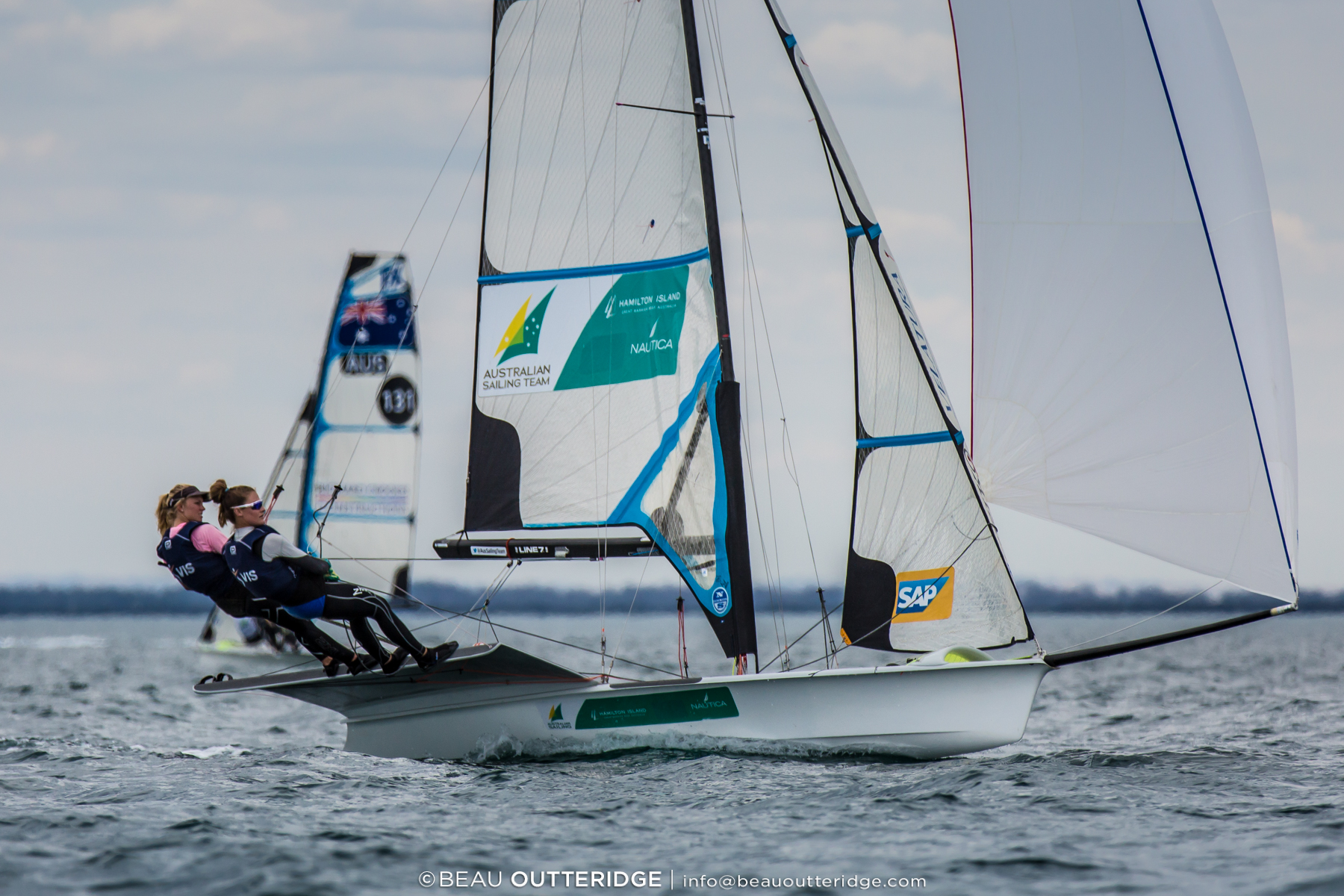 Tess Lloyd and Eliza Solly were the first placed all-women team in the 49erFX fleet. Photos: Beau Outteridge.