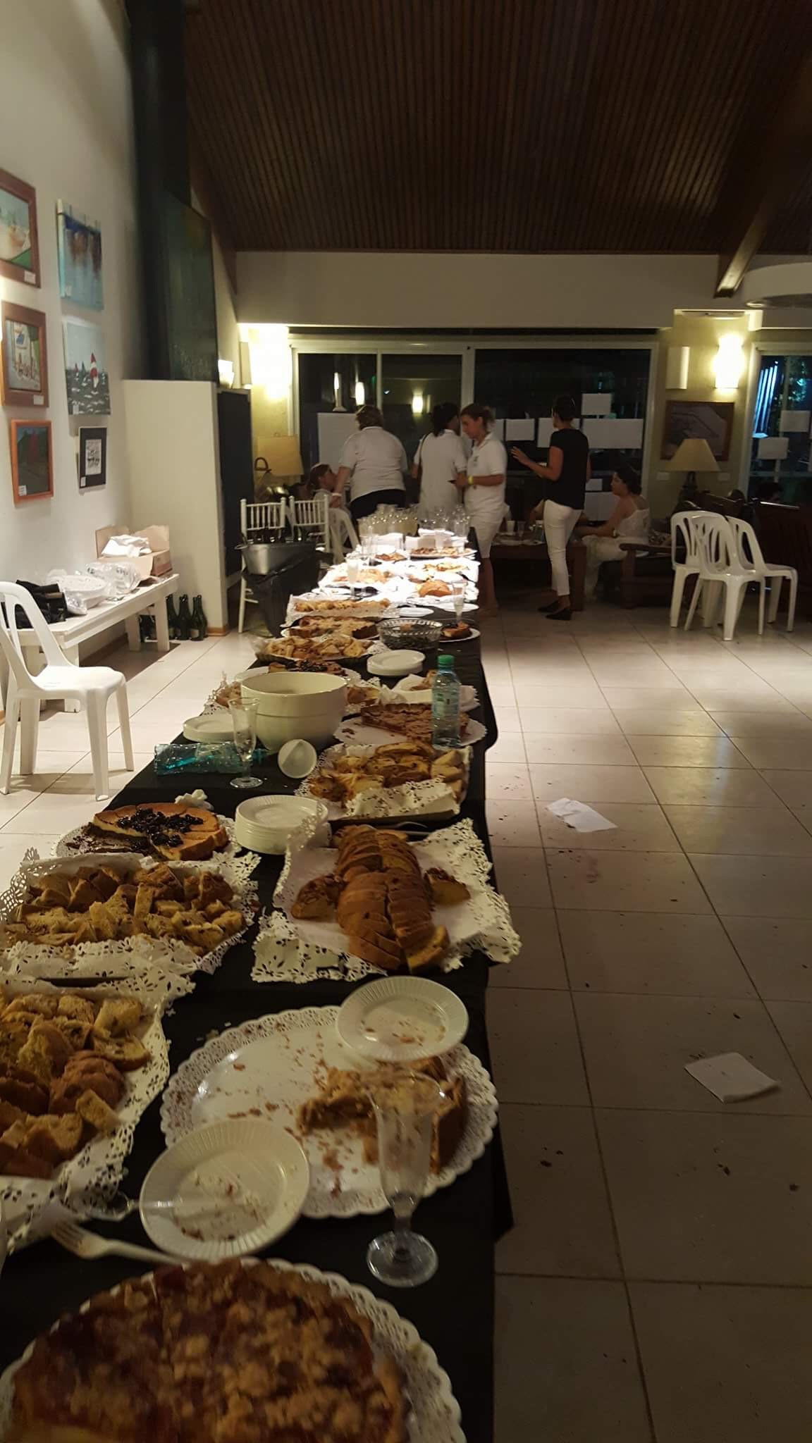 The food at the New Years Eve party the team attended.