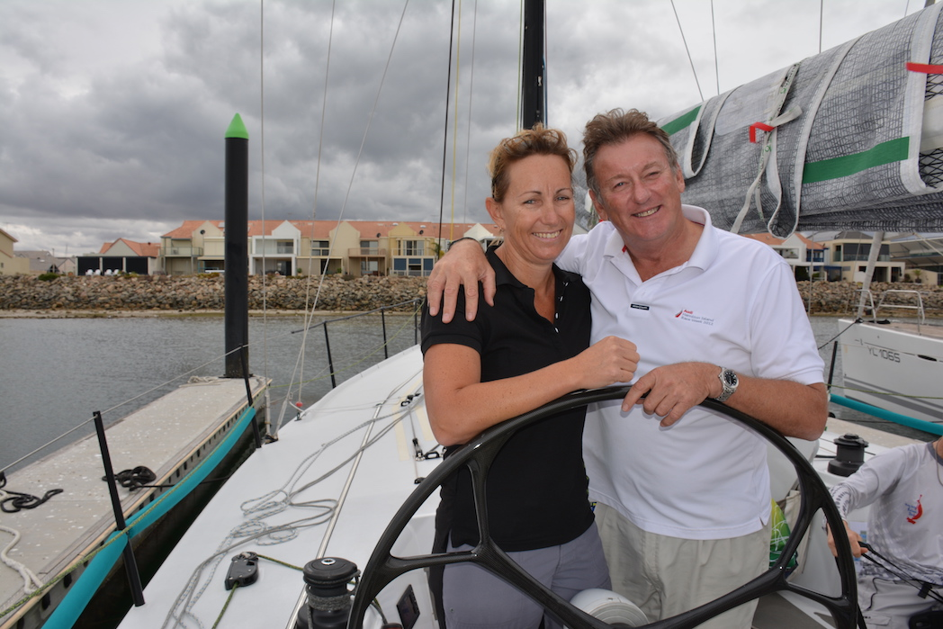Cheryl and Phil Coombs ahead of the start of last year's Adelaide to Port Lincoln Race on Simply Fun. Photo: Down Under Sail
