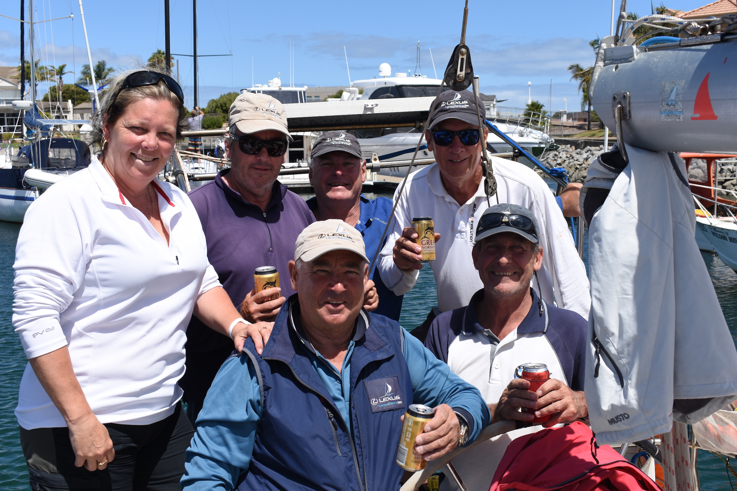 The Tanquery team of (back) Pip, Snert, Brasso, Trevor; front: Bruno and Tooly. Photo: Down Under Sail