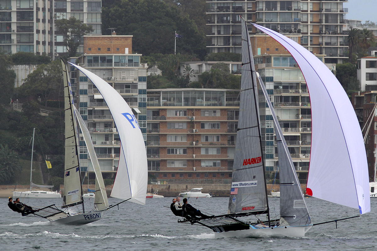 Race leader Harken (USA) leads Peroni on the second leg of the course