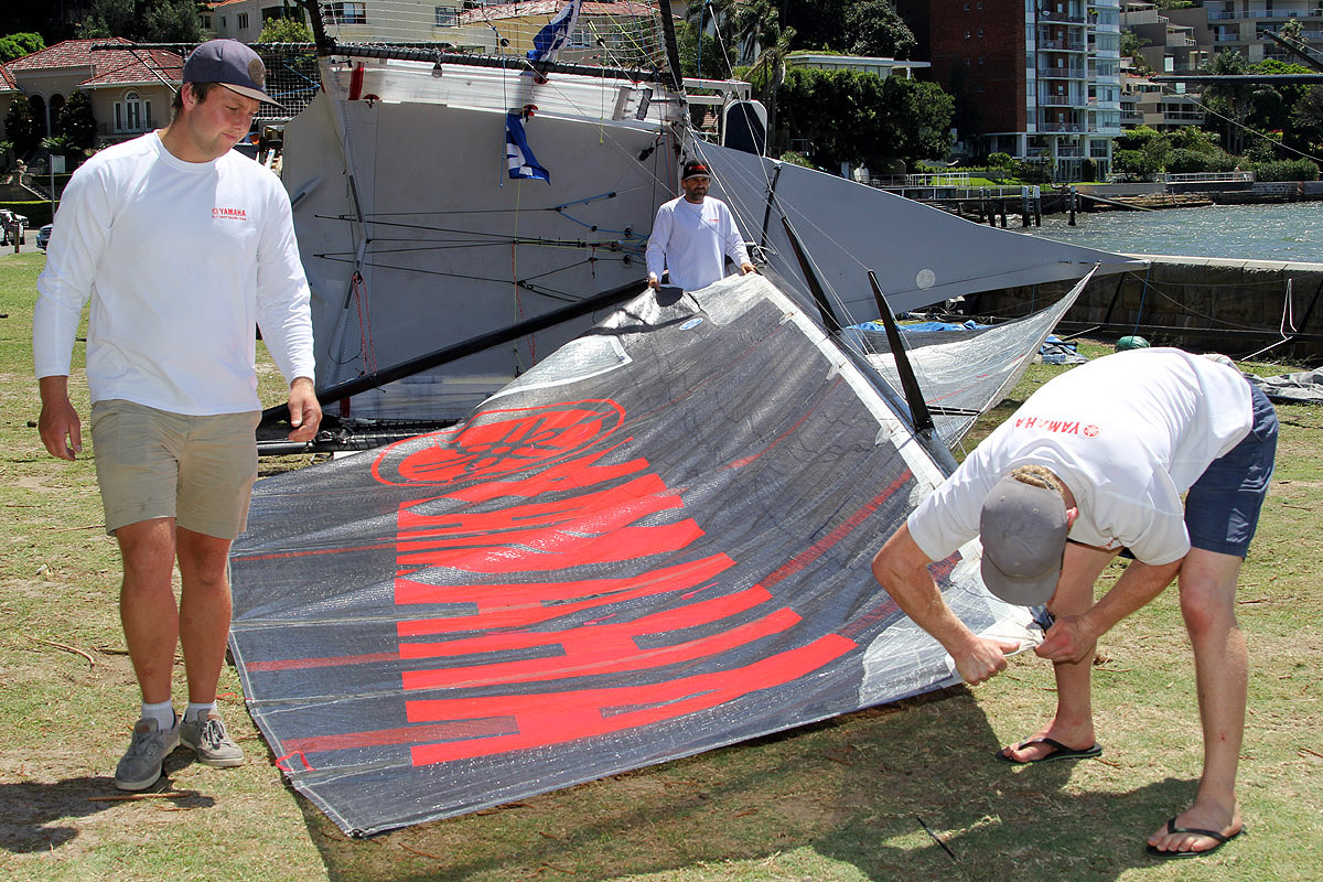 The Yamaha crew prepare the skiff for a practice sail on Sydney Harbour