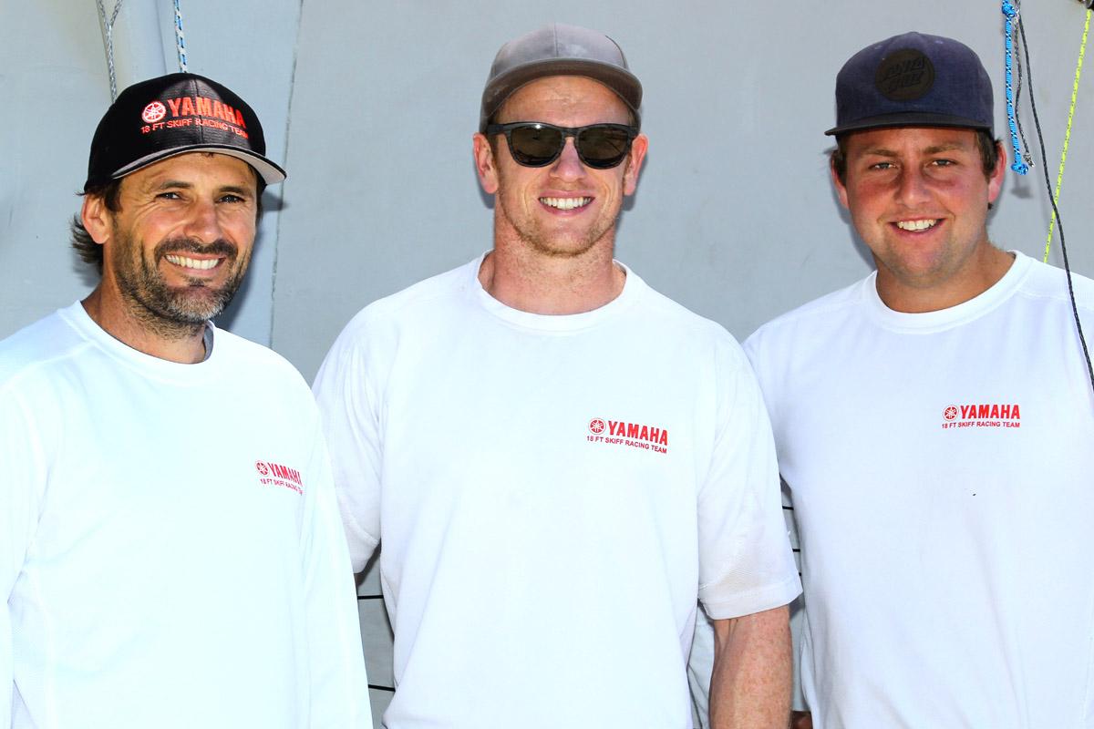 The Yamaha team of David McDiarmid, Matt Steven and Brad Collins in Sydney for the 2017 JJ Giltinan 18ft Skiff Championship