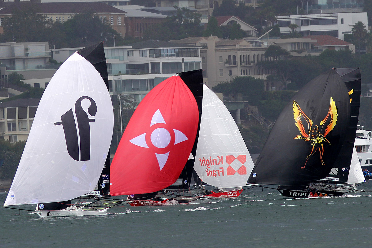 Thurlow Fisher leads Noakesailing, Knight Frank and Triple M after rounding the windward mark