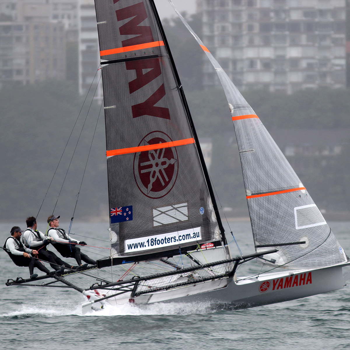 Yamaha at speed on the two-sail reach