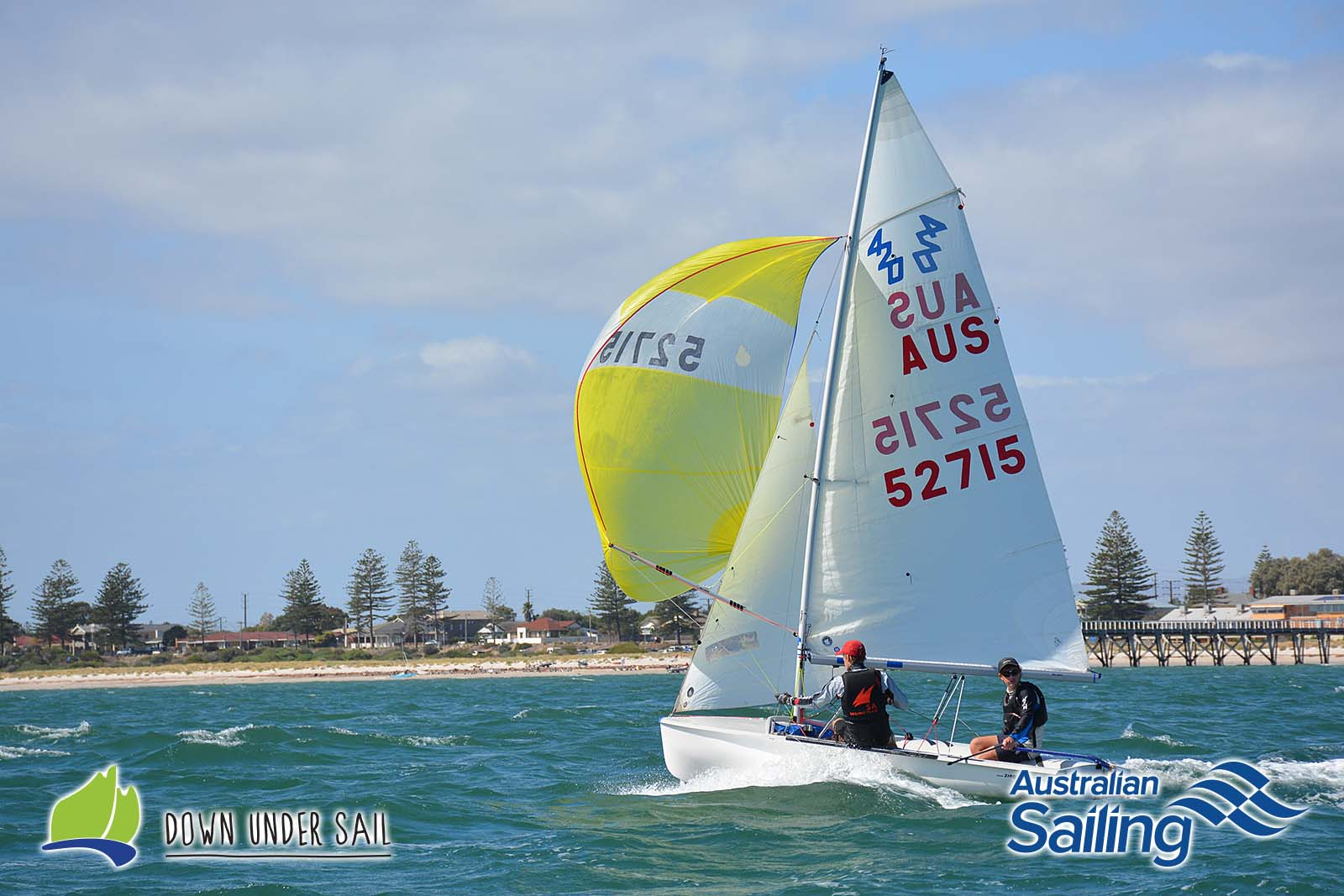 Josh Hinks and Alex Newman sailing in the 420 at last year's SA Youths.