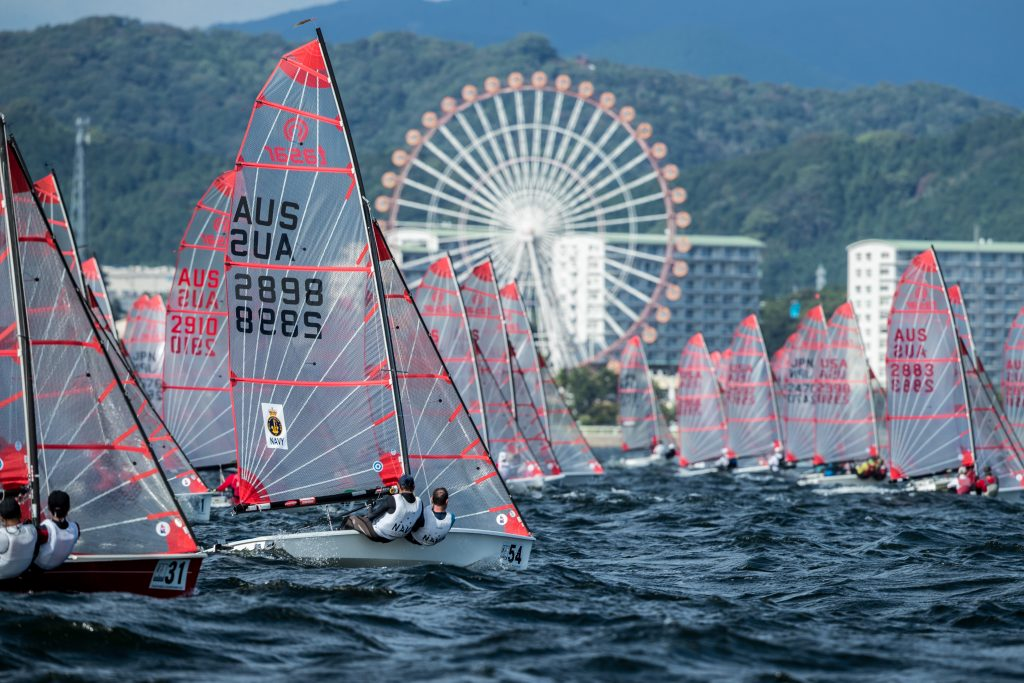 Aussies Rick Longbottom and Darryl Bentley (bow 54) and Akihiko Araoka and the Japanese team of Atsushi Tamaki (bow 31) navigate a busy start line.