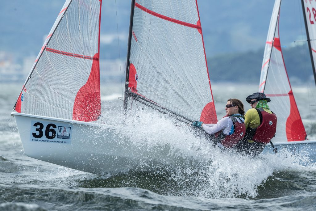 Americans Michael Karas and Molly Jackson blasting upwind.