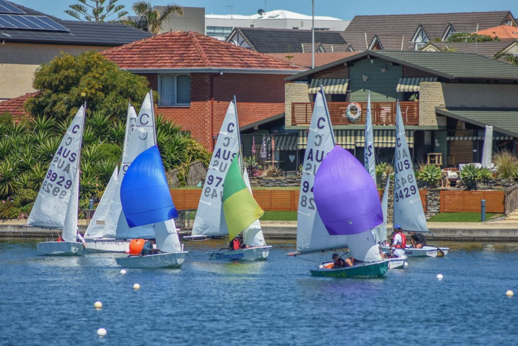 Cadets sailing in the 2017 West Lakes Regatta.