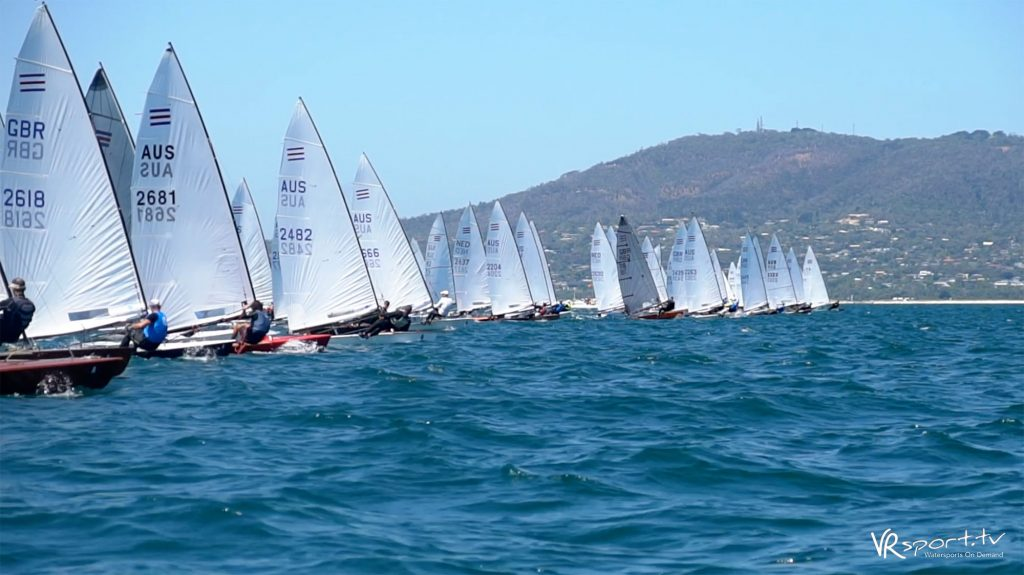 The fleet starting in the second race yesterday.