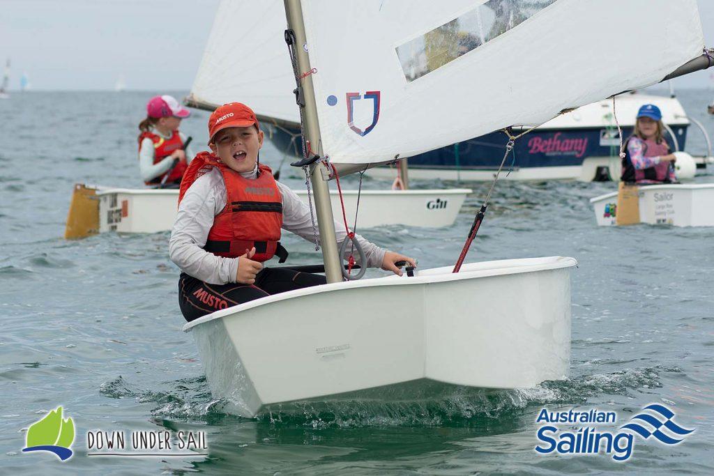 Fraser Baker participating in the Optimist Green Fleet last year.