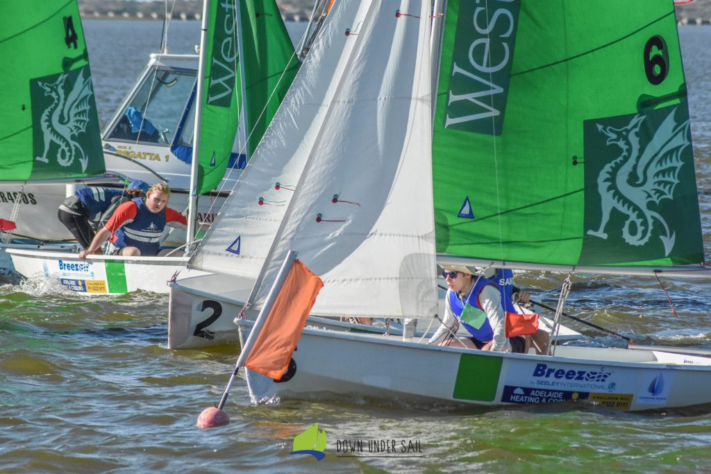 It's always busy on a team sailing start line. Photos: Down Under Sail