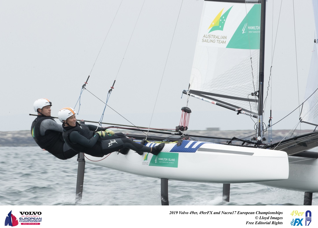 Outteridge siblings make Nacra 17 Medal Race at Europeans in Weymouth
