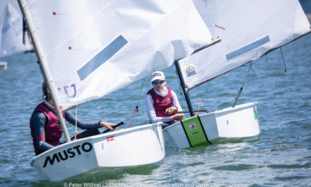 Racing underway at the 2020 Musto Optimist Australian and Open Championships